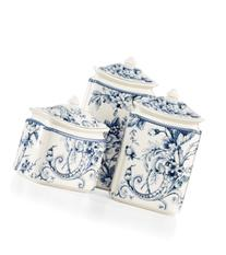 222 Fifth Adelaide Blue Set of 3 Canisters