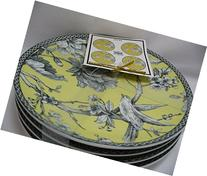 222 Fifth Adelaide Yellow Porcelain Set of 4 Round Dessert