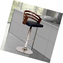 ARMEN LIVING Adele Swivel Barstool In Black PU/ Walnut