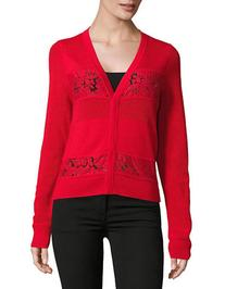 Diane Von Furstenberg Adelyn Lace and Wool Cardigan-RED-