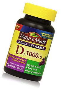 Nature Made Adult Chewable D3 1,000 I.U. Tablets, Grape, 120