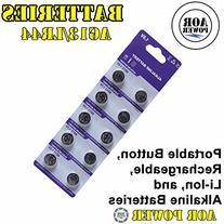 AOR Power® 1.5 Volt Alkaline AG13/LR44 Button Battery, 10