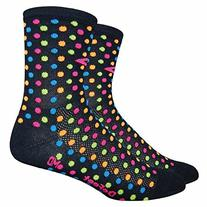 "Defeet Aireator Spotty 4"" Socks with Color Spots, Black,"