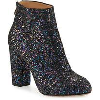 Charlotte Olympia Alba Glitter Fabric Block-Heel Bootie