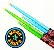 "Pocket Stix 13"" Alien Green & BeBop Blue Drumsticks and 4"""