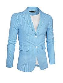 Allegra K Men Vertical Stripes Padded Shoulder Long Sleeves