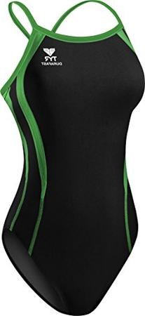 TYR Alliance Splice Diamondback Swimsuit, Black/Red, 20
