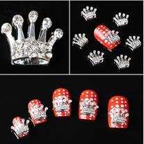 350buy 10x Alloy 3D Silver Crown Nail Art Glitter Sticker