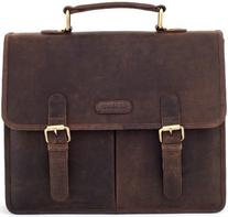 LEABAGS Oakland genuine buffalo leather briefcase in vintage