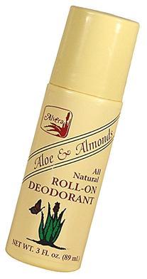 Alvera All Natural Roll-On Deodorant Aloe And Almonds - 3 Oz