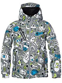 686 Boy's Altitude Insulated Jacket, Large, Grey Skulls