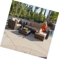 Belleze© 6PC Aluminum Patio Sofa PE Rattan Couch 2 Set