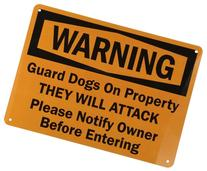 "SmartSign Aluminum Sign, Legend ""Warning: Guard Dogs on"