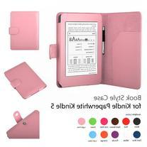Amazon Kindle Paperwhite Case Pink - Slim Folio PU Leather