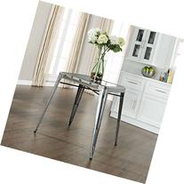 Amelia Metal Cafe Dining Table in Galvanized