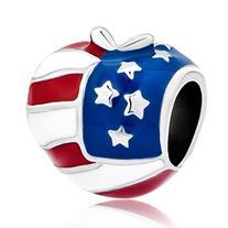 Pugster America Usa Flag Heart Love Apple Bead Fits Pandora