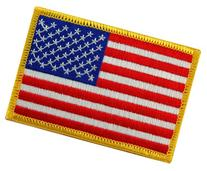 American Flag Embroidered Patch Gold Border USA United