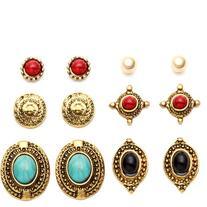 Antique Gold Carved Gemstone Stud Earrings Set