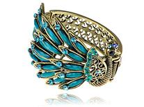Alilang Womens Antique Golden Tone Peacock Bracelet Bangle