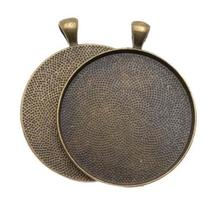 Antiqued Brass Color Round Bezel Pendant 38mm - 1 1/2 Inch