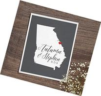 Any State or Georgia Map or Country Wedding Art Print New