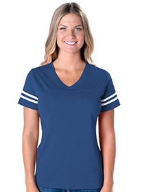 LAT Apparel Ladies Football Jersey V-Neck Tee  Vintage Royal