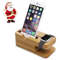 Aerb Bamboo Wood Charge Dock Holder for Apple Watch and Docking Station Cradle Bracket for iPod iPhone iPad and Smartphones and Tablets