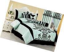 Chezmoi Collection 7-Piece Aqua with Blue and Black Floral