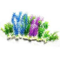 uxcell® 10 Pcs Artifical Assorted Colors Grass Aquascaping
