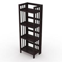 Stony-Edge Folding Bookcase, Easy Assembly Bookshelf for