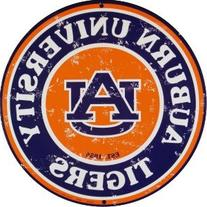 Auburn Tigers 12 Inch Embossed Metal Nostalgia Circular Sign