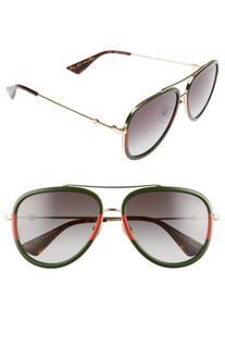 Women's Gucci 57Mm Aviator Sunglasses - Green-Red/ Green