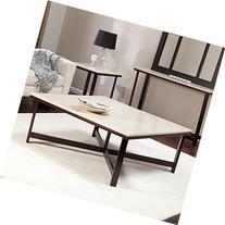 Avorio Faux Travertine Square Coffee Table
