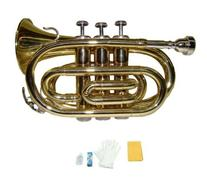Merano B Flat Gold Brass Pocket Trumpet with Case+Mouth