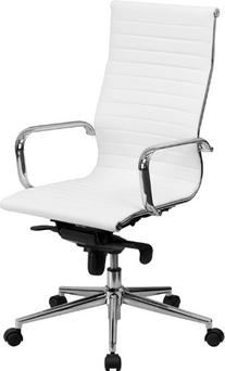 High Back White Ribbed Upholstered Leather Executive Office