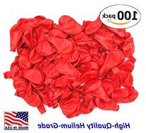 Pack of 100, Bright Red Color Latex Balloons, MADE IN USA