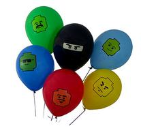 24 Pack of Colorful 12-inch Birthday Balloons for Lego Theme