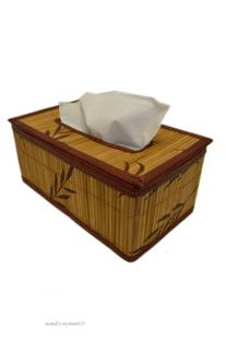 Natural Bamboo with Brown Leaves Kleenex Tissue Dispenser