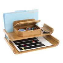 Safco® Bamboo Desktop Organizer with Tra