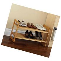 Mainstays Bamboo Shoe Rack, Natural Finish Two Tier