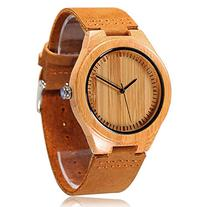 CUCOL Men's Bamboo Wooden Watch with Brown Cowhide Leather