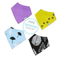 Premium Baby Bandana Drool Bibs with Snaps - 4 Pack Super