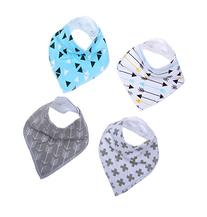 Baby Bandana Drool Bibs With Snaps, 4 Pack Absorbent Cotton