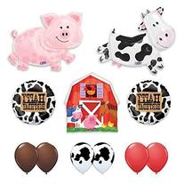 Barn Farm Animals Birthday Party Cow, Pig, Barn Balloons