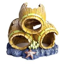 GloFish Barrels Ornament for Aquarium, Small