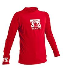 Body Glove Junior Basic Fitted Long Arm Rash Guard, Red,