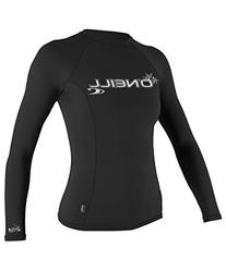 O'Neill Wetsuits UV Sun Protection Womens Basic Skins Long Sleeve Crew Sun Shirt Rash Guard, Black, Large