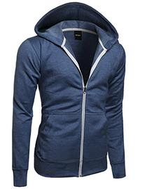 Basic Solid Light Weight Hoodie Jackets Denim Blue Size M