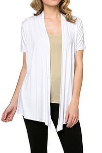 12 Ami Basic Solid Short Sleeve Open Front Cardigan White