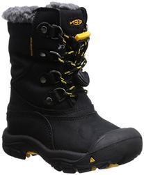 KEEN Basin WP Winter Boot ,Black/Yellow,2 M US Little Kid